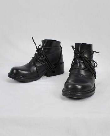 Dirk Bikkembergs black boots with laces through the soles (38) — fall 1994