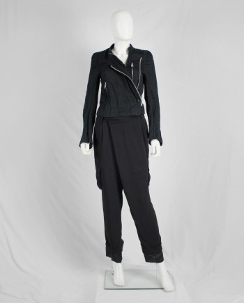A.F. Vandevorst black harem trousers with overlap front and longer lining