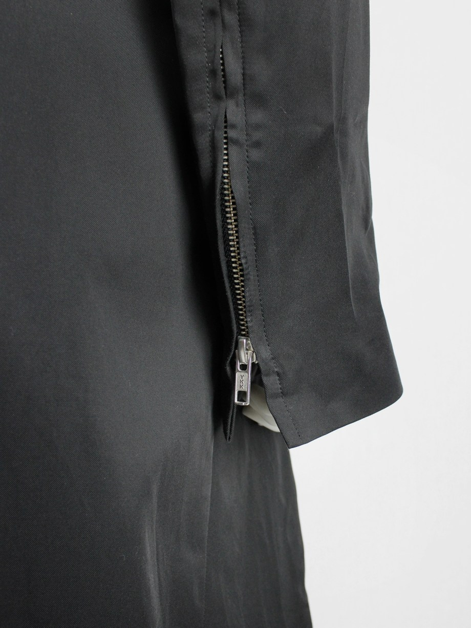 Ann Demeulemeester black raincoat with zip-off panels — fall 2011