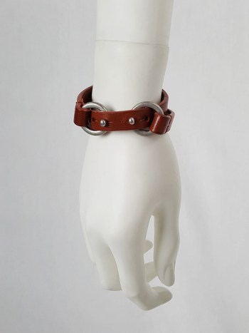 Maison Martin Margiela brown double wrapped bracelet with silver circle closures
