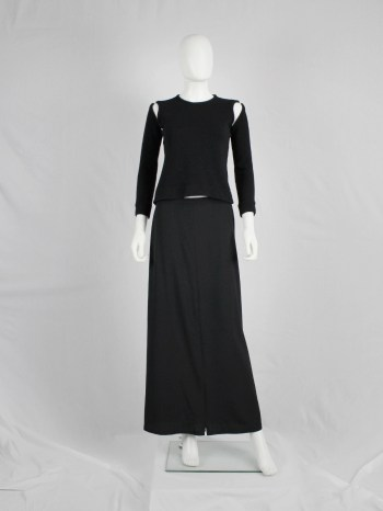 Ann Demeulemeester black maxi skirt with high zipper slit — 1990's