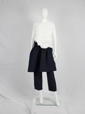 Comme des Garçons blue trousers with skirted front panel — spring 2002