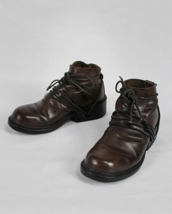 Dirk Bikkembergs brown boots with flap and laces through the soles (39) — fall 1994