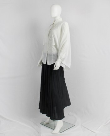 vaniitas Veronique Branquinho white shirt with kimono sleeves and pleated bib