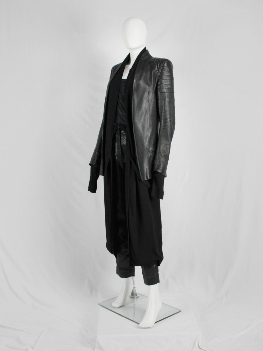 Haider Ackermann black leather biker blazer with padded shoulder details — fall 2012
