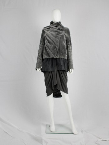 Haider Ackermann grey velvet bomber jacket with draped sash — fall 2007