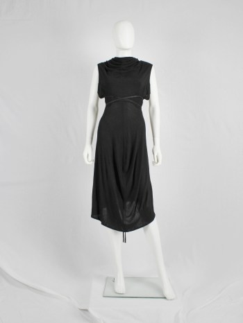 Ann Demeulemeester black grecian dress with open back and leather straps