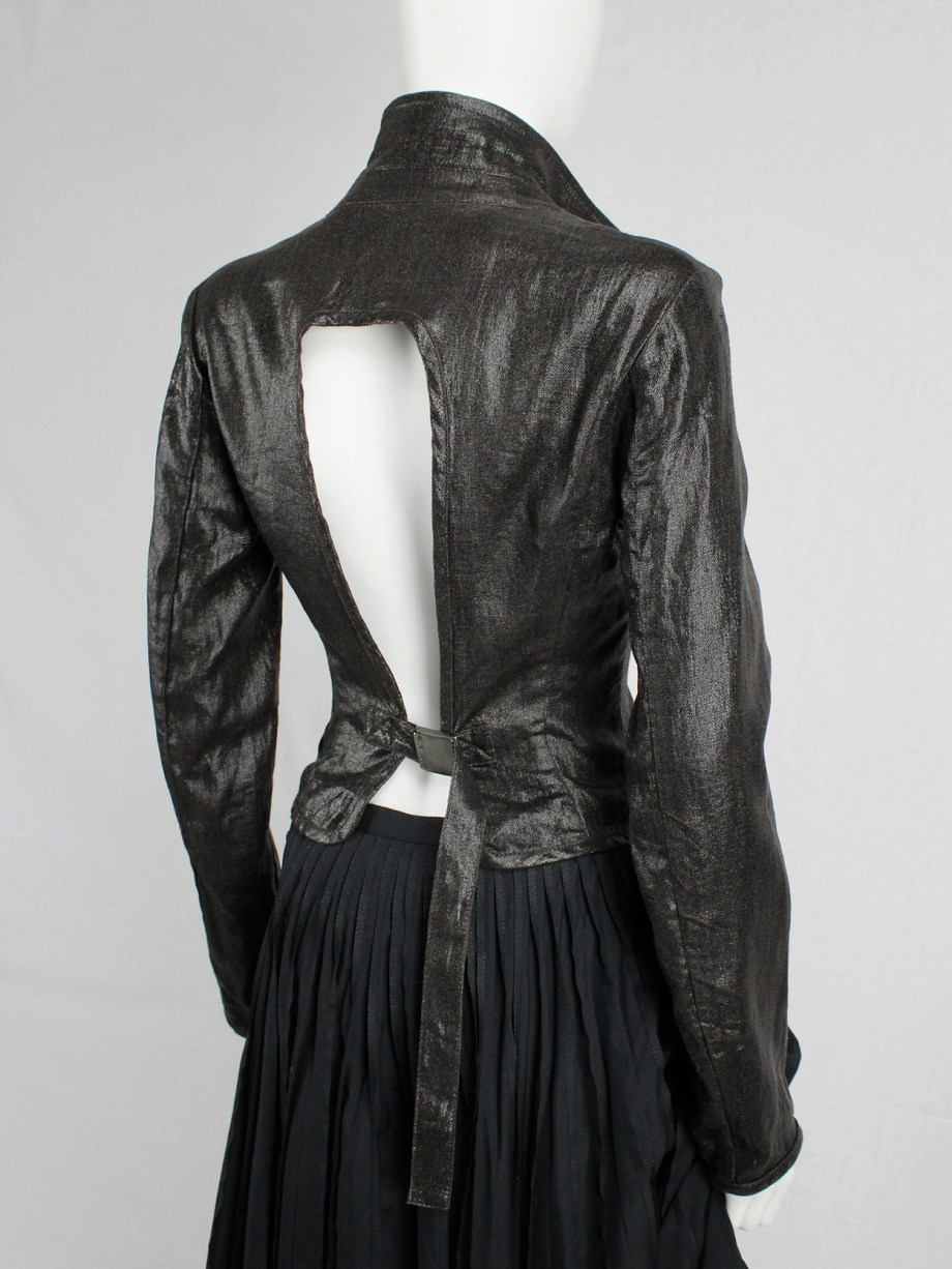 Dirk Bikkembergs brown coated blazer with open belted back — spring 2003