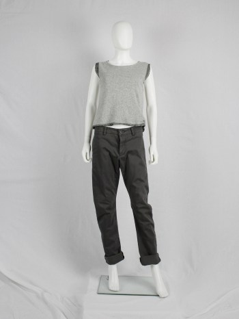 Maison Martin Margiela grey knit top with longer exposed lining — fall 1997