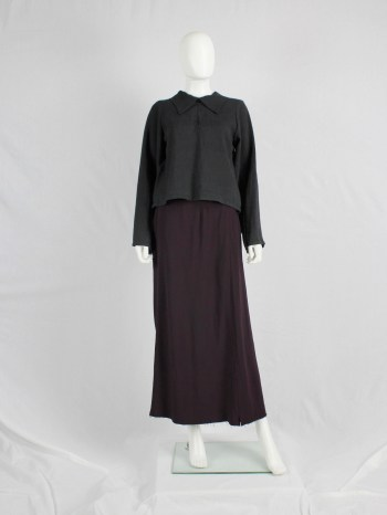 Maison Martin Margiela purple backwards maxi skirt with frayed hem — fall 2000