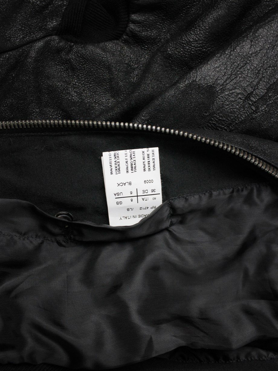 Rick Owens black leather bomber jacket with pleated back