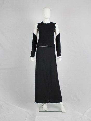 A.F. Vandevorst black crop top with long detachable sleeves