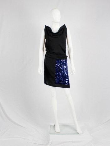 Ann Demeulemeester black wrap skirt with blue sequinned panel — 90's
