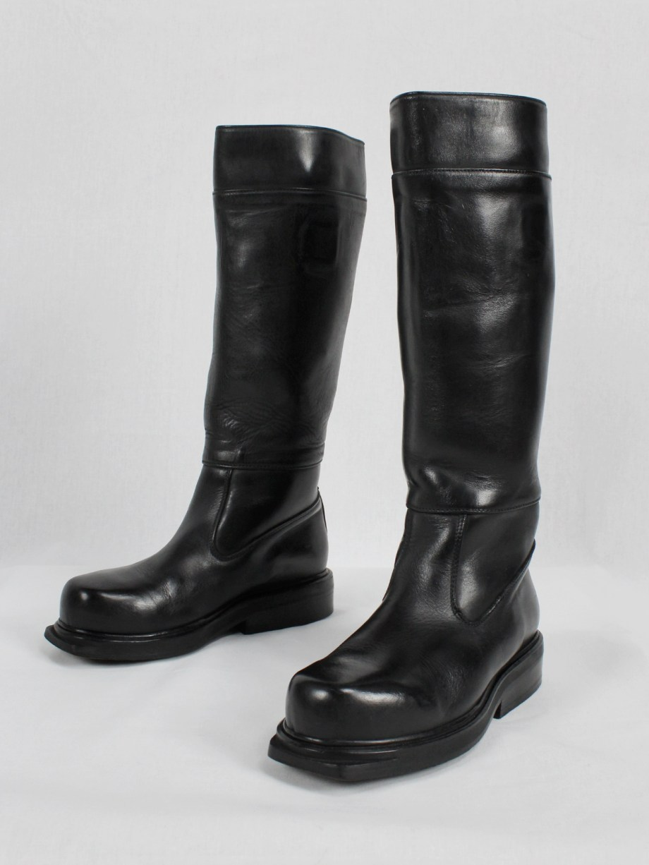 Dirk Bikkembergs black tall boots with mountaineering sole 1990s (2)
