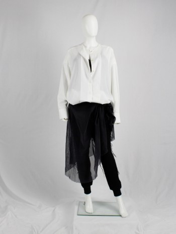 Haider Ackermann white collarless minimalist shirt in an oversized unisex fit