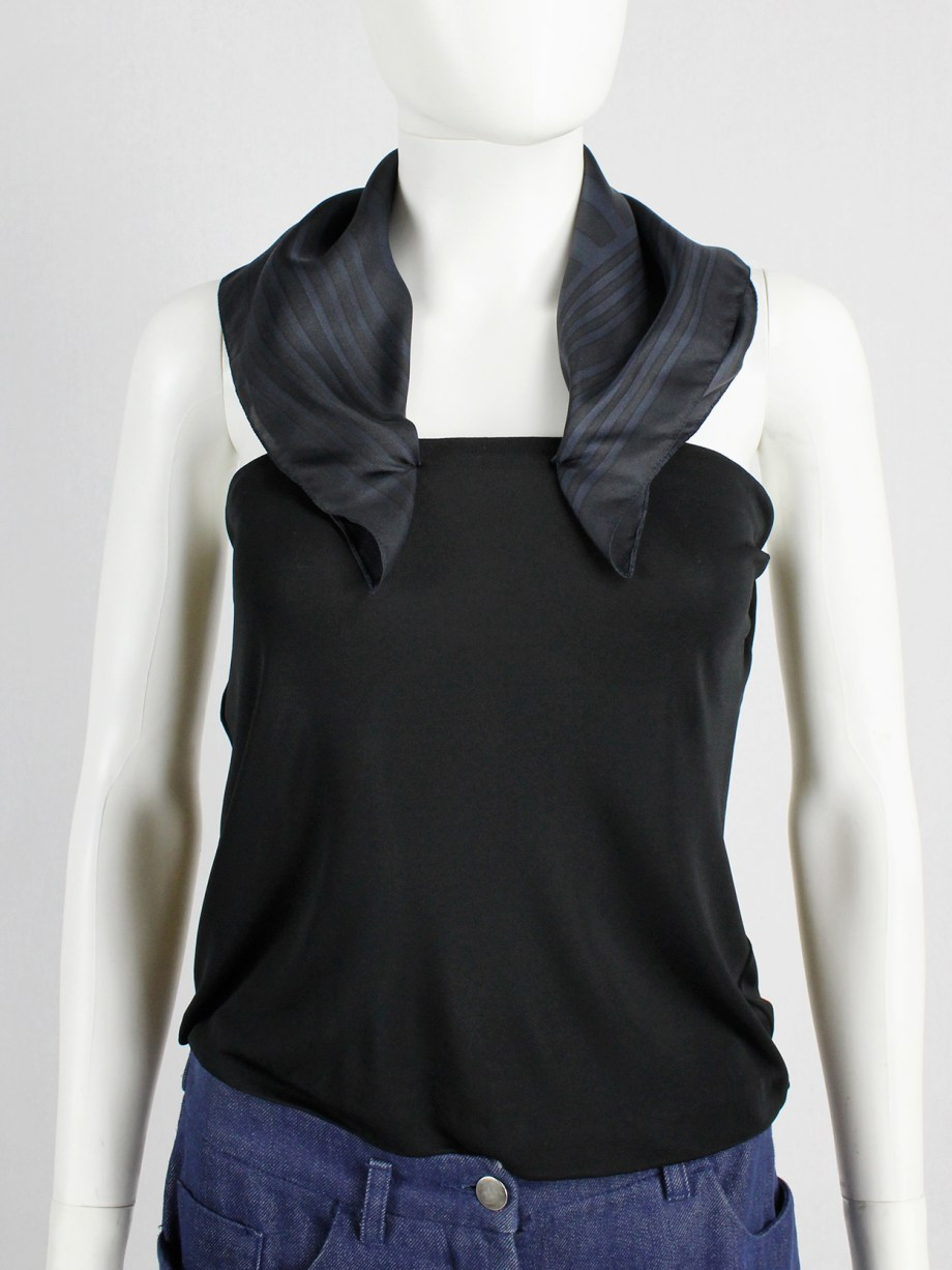 Maison Martin Margiela black backless top with blue scarf collar — spring 2007