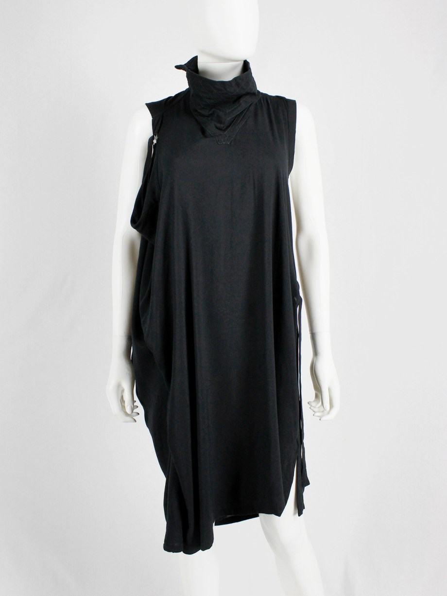 Ann Demeulemeester black dress with straps and stitched collar — spring 2011