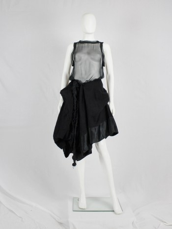 Ann Demeulemeester black heavily gathered skirt with oversized braid — fall 2005