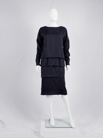 Dries Van Noten dark purple dress with tiered skirt — fall 2013