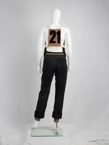 A.F. Vandevorst brown breastplate with back number 21 — spring 2001
