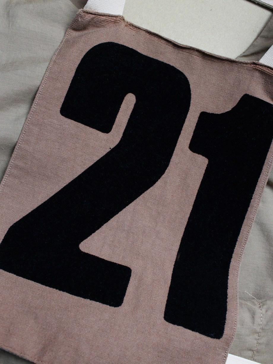 A.F. Vandevorst brown breastplate with back number 21 — spring 2001