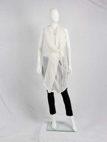 Ann Demeulemeester white sleeveless draped tunic with hood — spring 2009