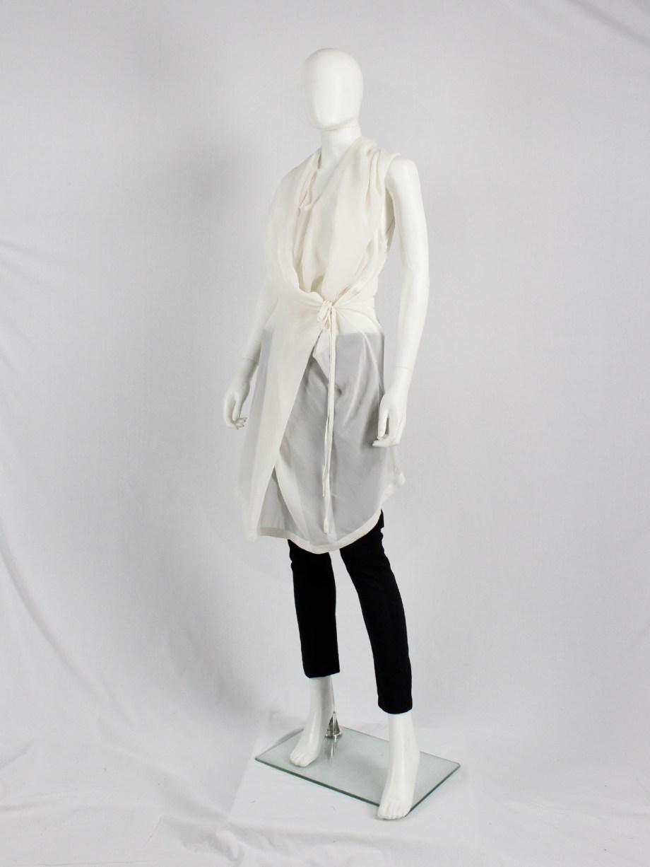 Ann Demeulemeester white sleeveless draped tunic with hood — spring 2009