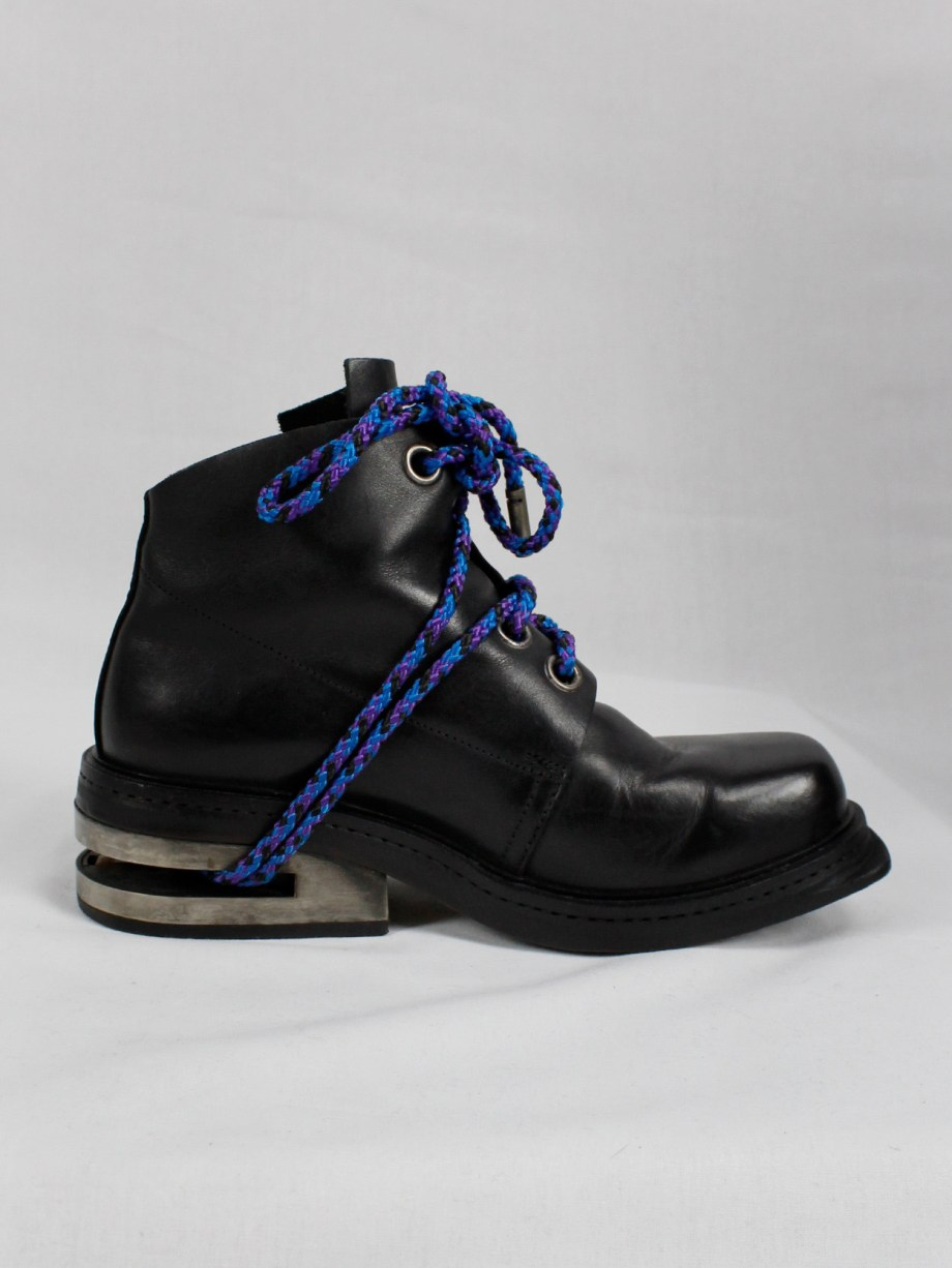 Dirk Bikkembergs black mountaineering boots with metal slit heel and purple cord (41) — fall 1994