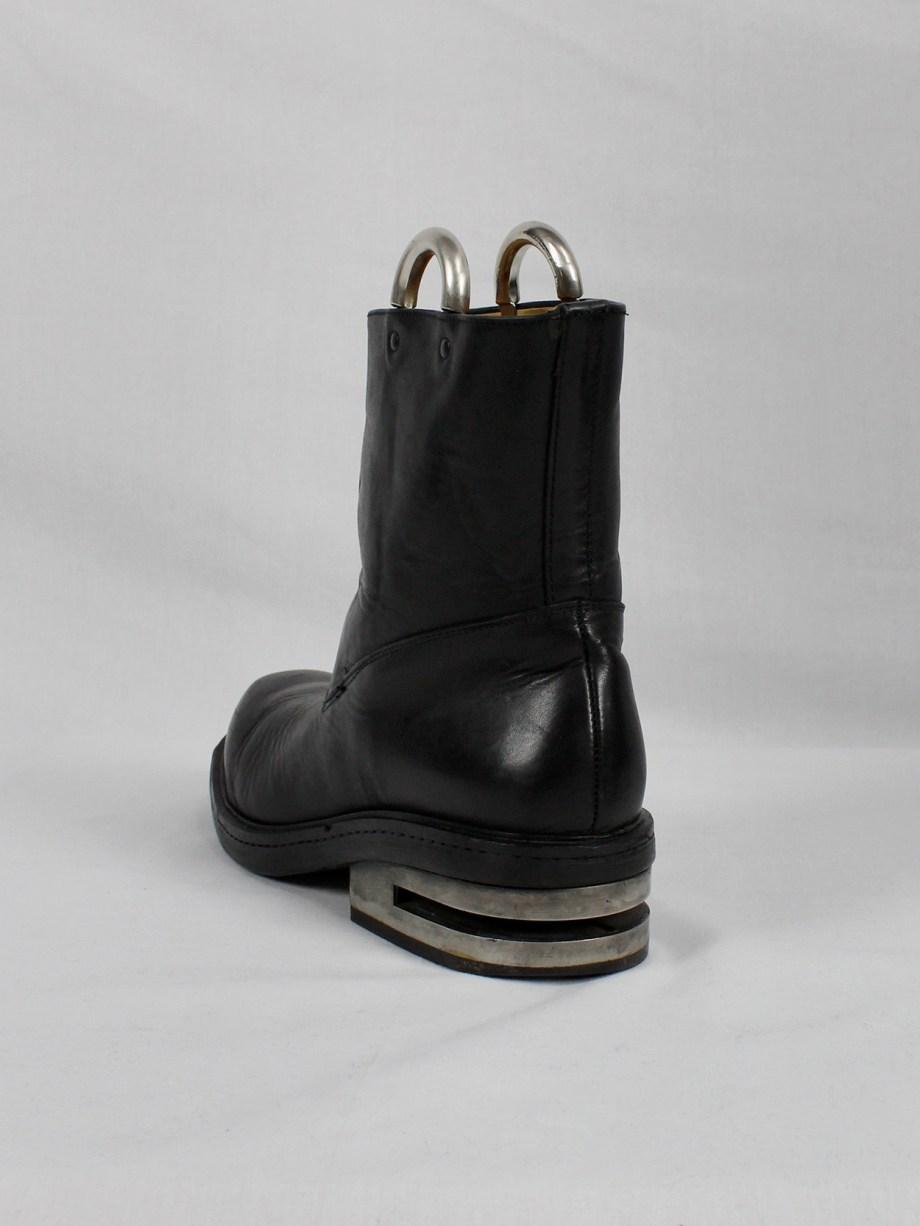 Dirk Bikkembergs black tall boots with metal slit heel and metal pulls (43,5) — mid 90's