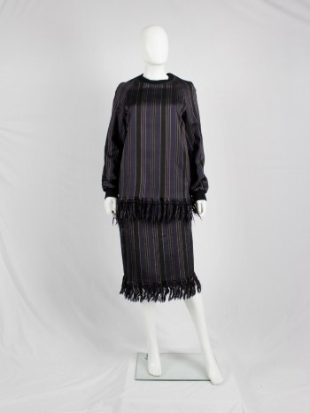 Dries Van Noten purple and gold striped jumper and skirt with fringes — fall 2015