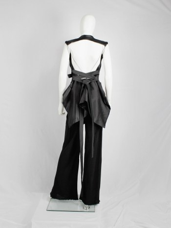 Haider Ackermann black backless waistcoat with swallowtail and ribbon lacing — spring 2011