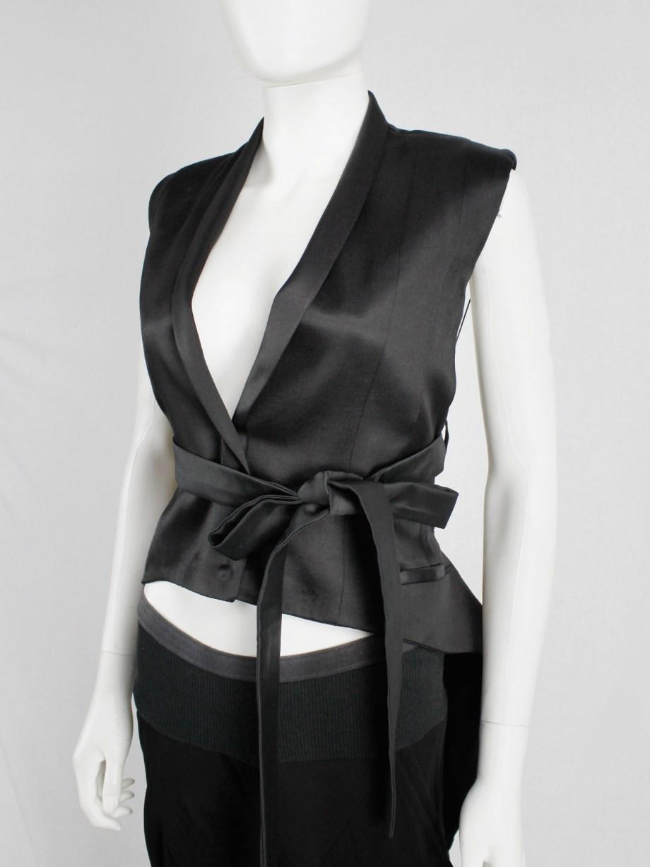 Haider Ackermann black backless waistcoat with swallowtail and ribbon lacing — spring 2011