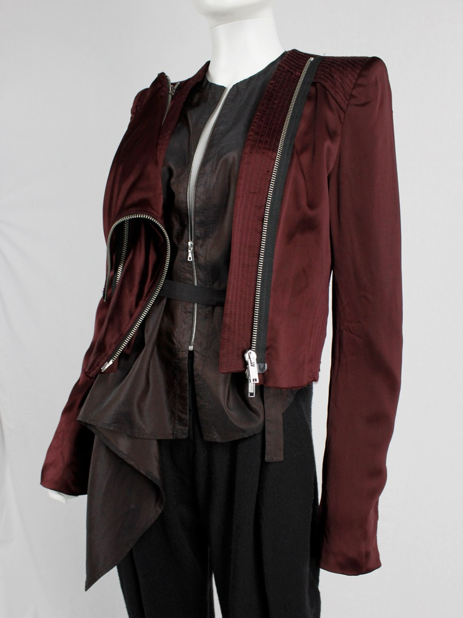 Haider Ackermann burgundy jacket with double front zipper fall 2009 (5)