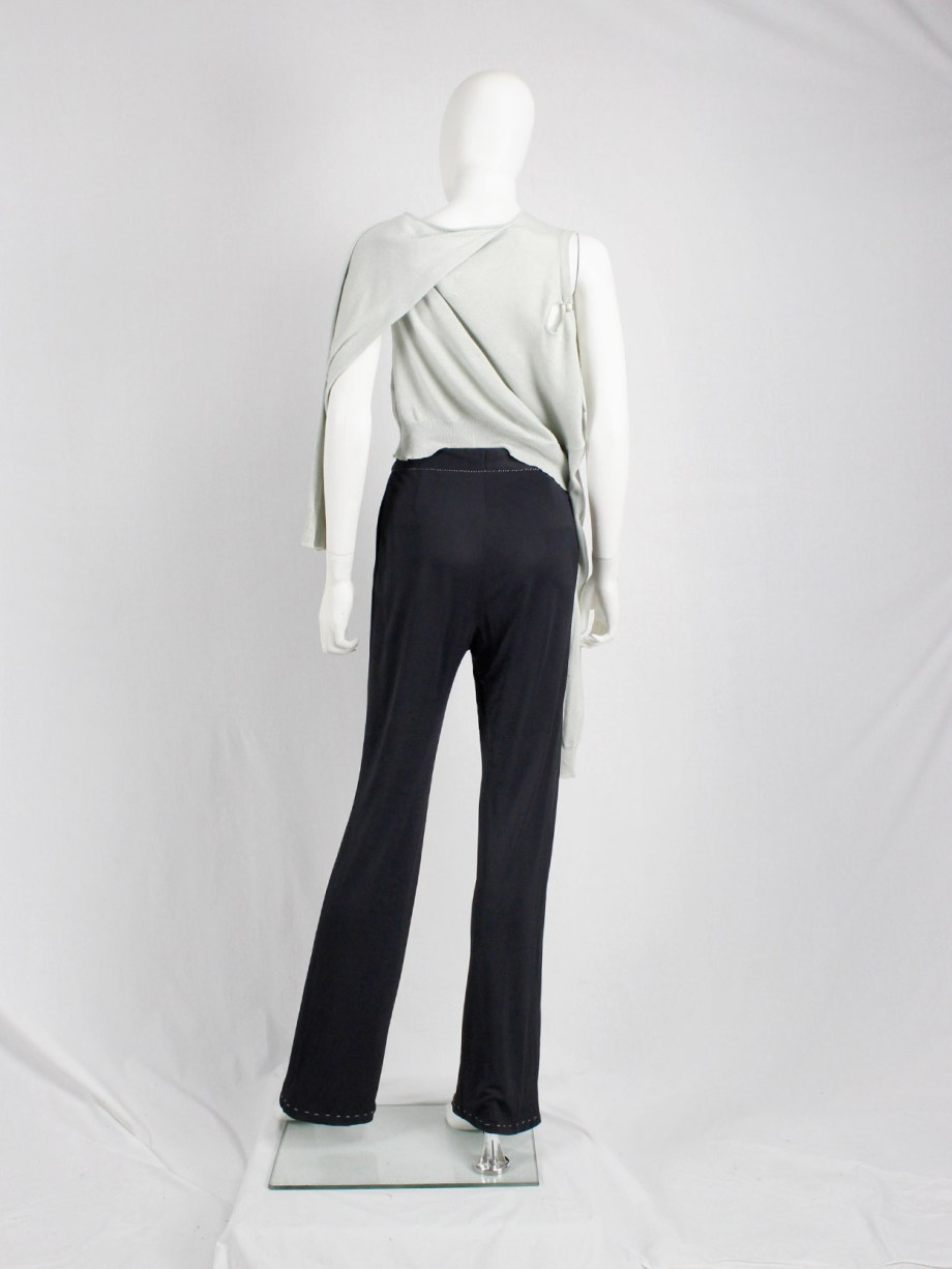 Maison Martin Margiela dark blue trousers with white exposed stitches spring 2002 (6)