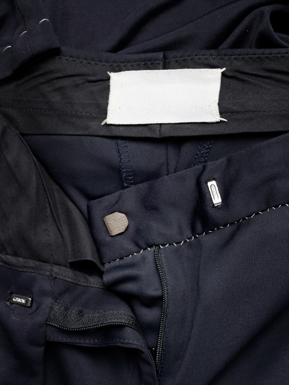 Maison Martin Margiela dark blue trousers with white exposed stitches — spring 2002