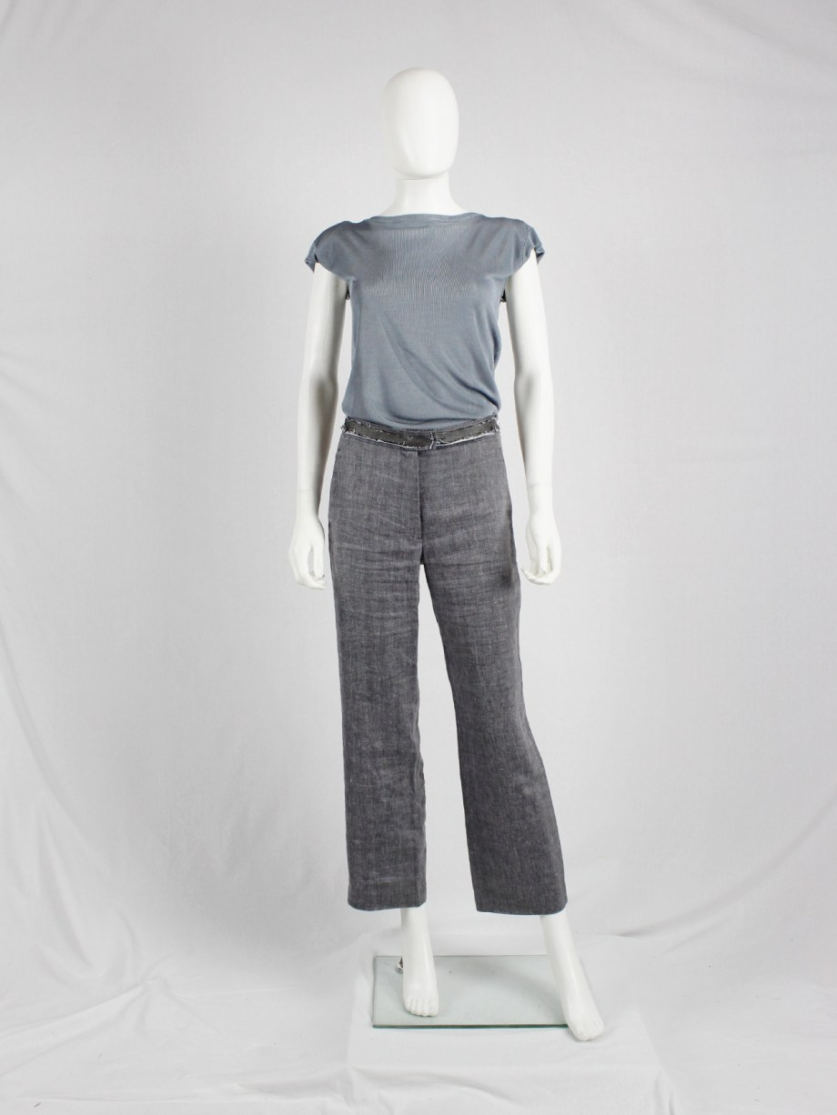 Maison Martin Margiela grey trousers with ripped waist and exposed lining — spring 2005