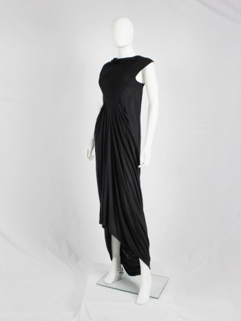 Rick Owens ISLAND black draped maxi dress with triangular top — spring 2013