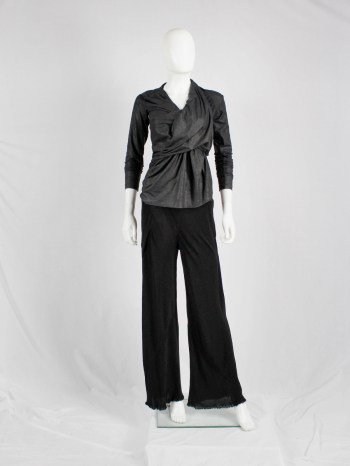 Rick Owens SCORPIO black loose flowy trousers with frayed hem — spring 2005