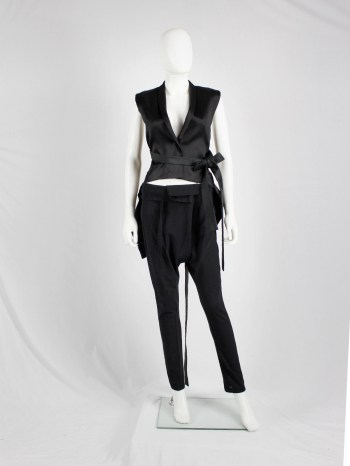 Ann Demeulemeester black harem trousers with belt strap and front pleat