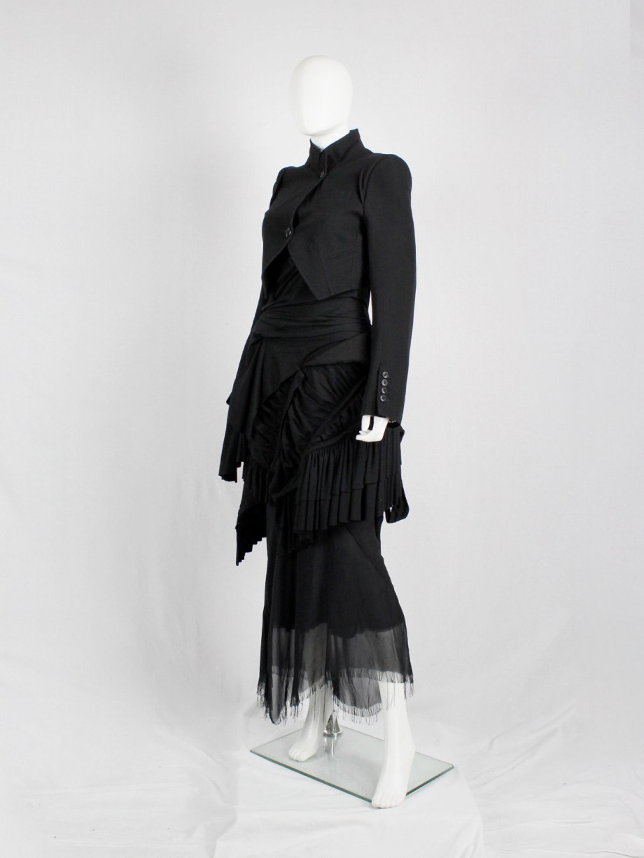 Ann Demeulemeester black cropped blazer with cutaway front — fall 2006