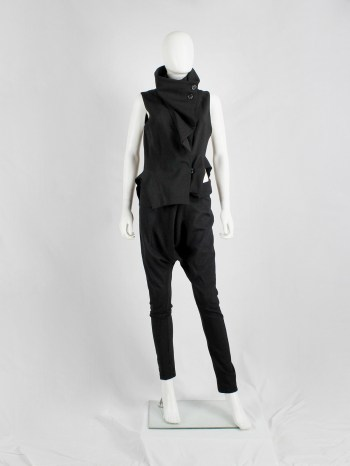 Ann Demeulemeester black draped vest with standing collar and zipper panels — fall 2012