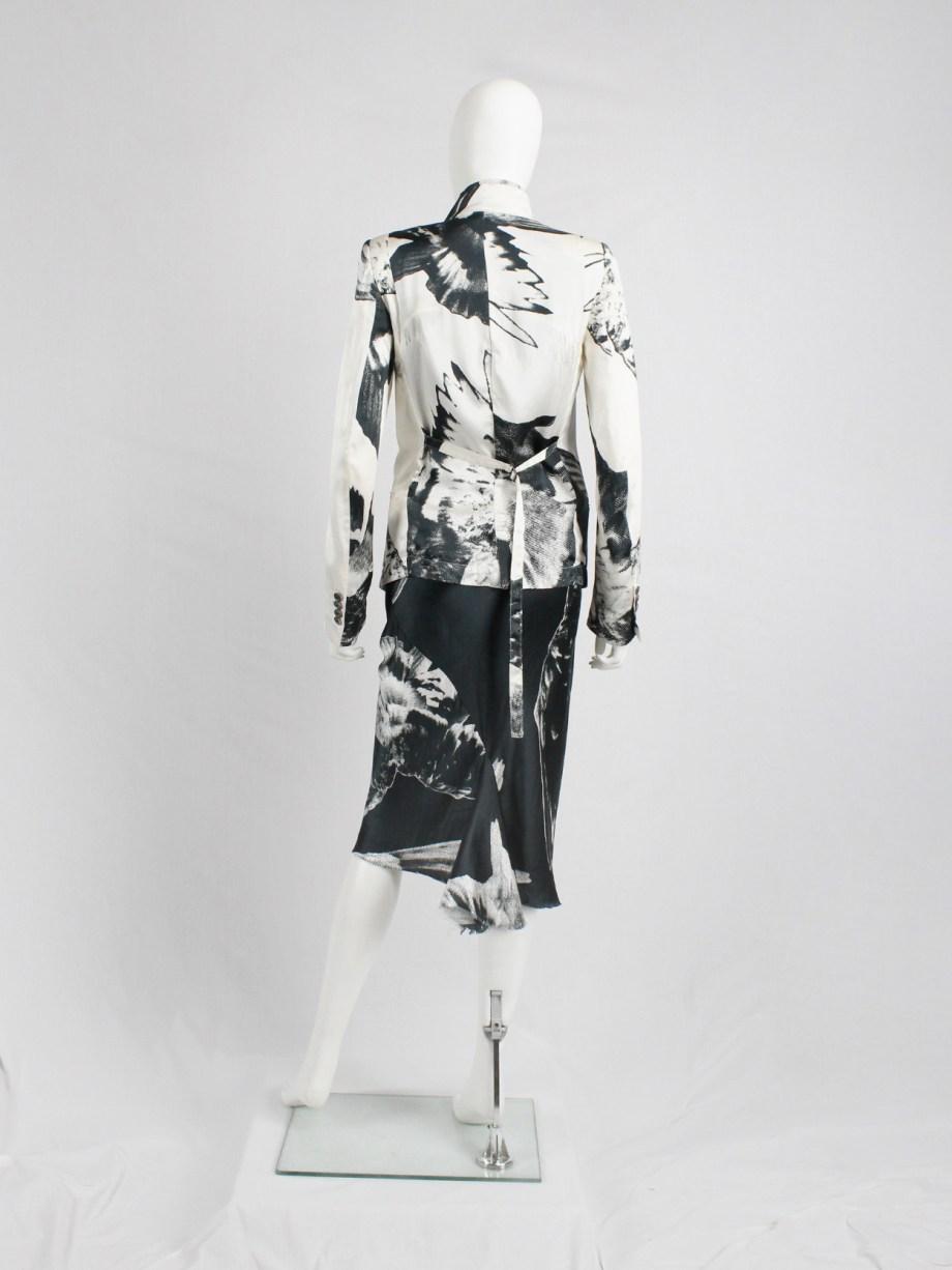 Ann Demeulemeester white asymmetric bird print jacket with inner belt strap — spring 2010