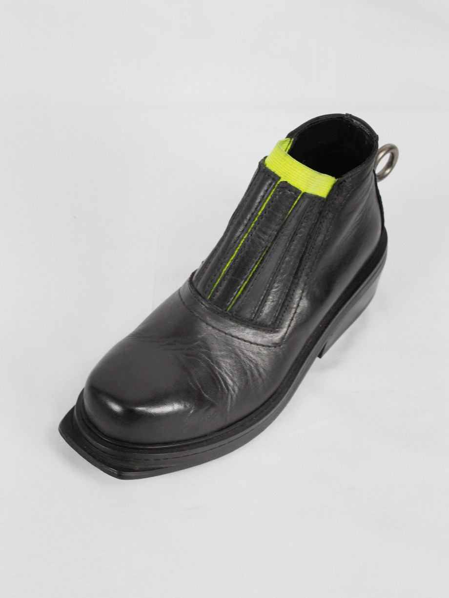 Dirk Bikkembergs black ankle boots with metal ring and neon elastic spring 1998 (12)