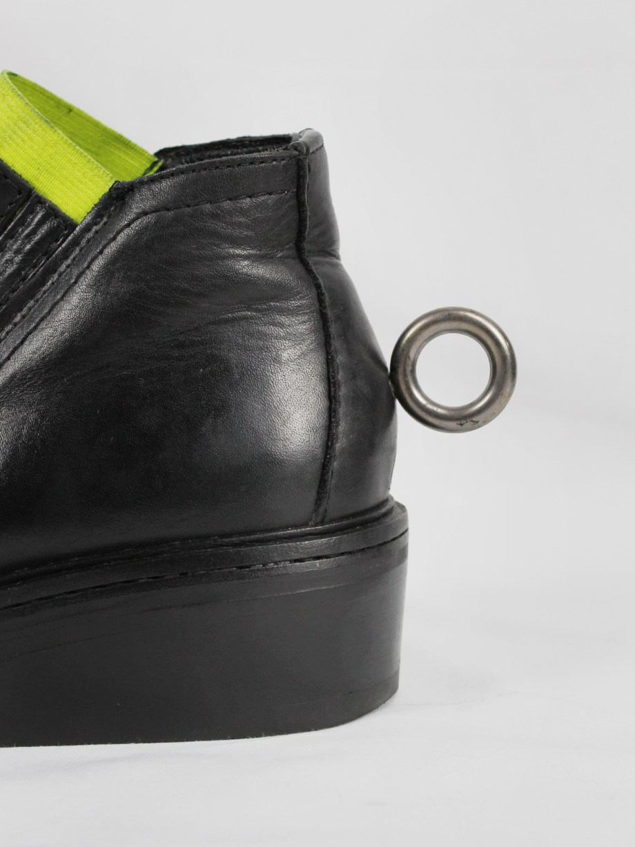 Dirk Bikkembergs black ankle boots with metal ring and neon elastic spring 1998 (14)