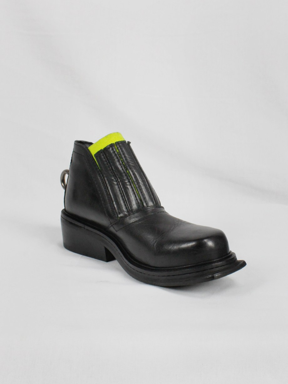Dirk Bikkembergs black ankle boots with metal ring and neon elastic spring 1998 (18)