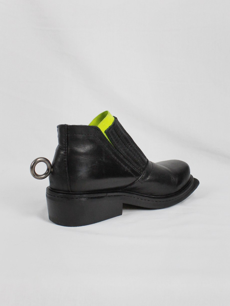 Dirk Bikkembergs black ankle boots with metal ring and neon elastic spring 1998 (20)