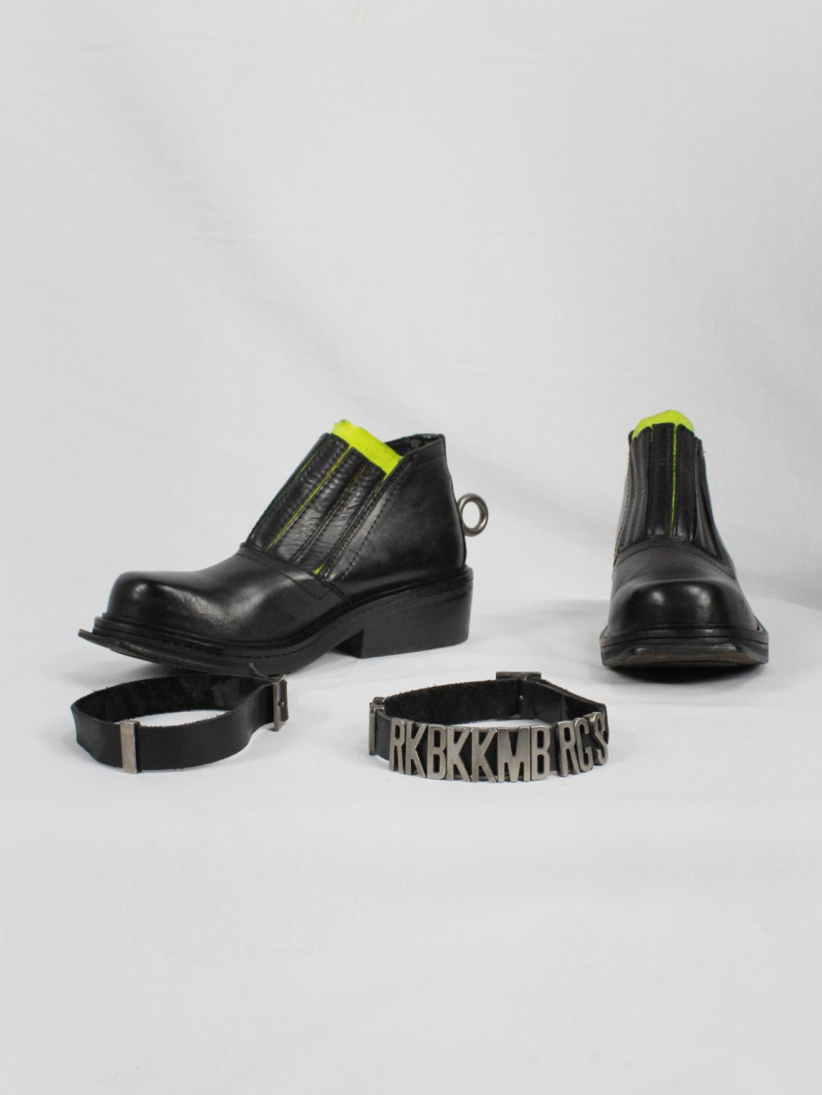 Dirk Bikkembergs black ankle boots with metal ring and neon elastic spring 1998 (23)