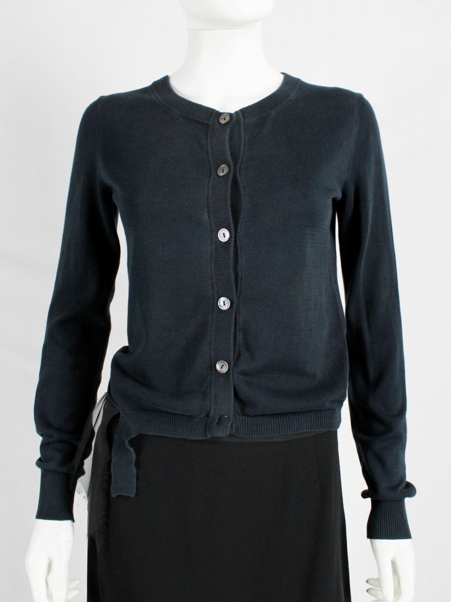 Maison Martin Margiela black cardigan with torn details — spring 2006