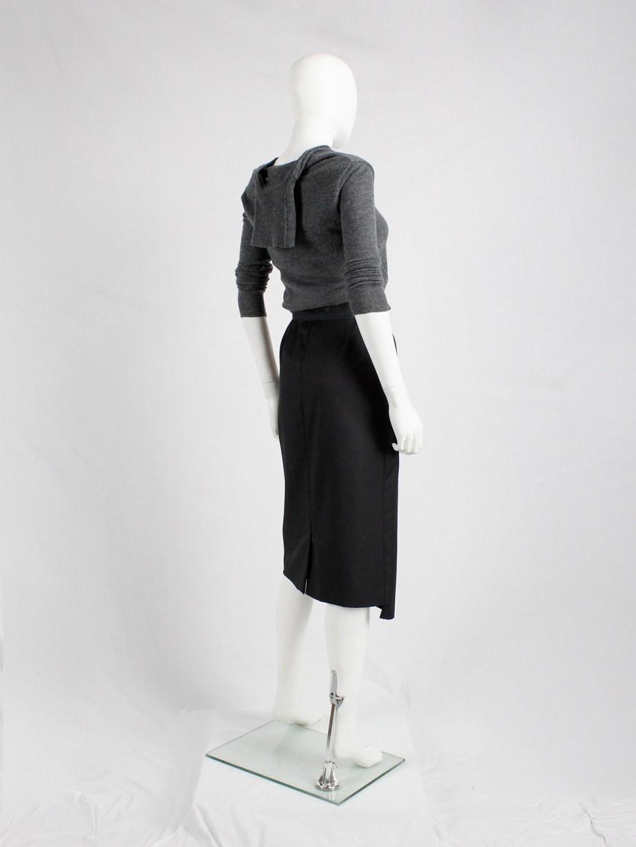 Maison Martin Margiela black pencil skirt with chopped hem — fall 2000
