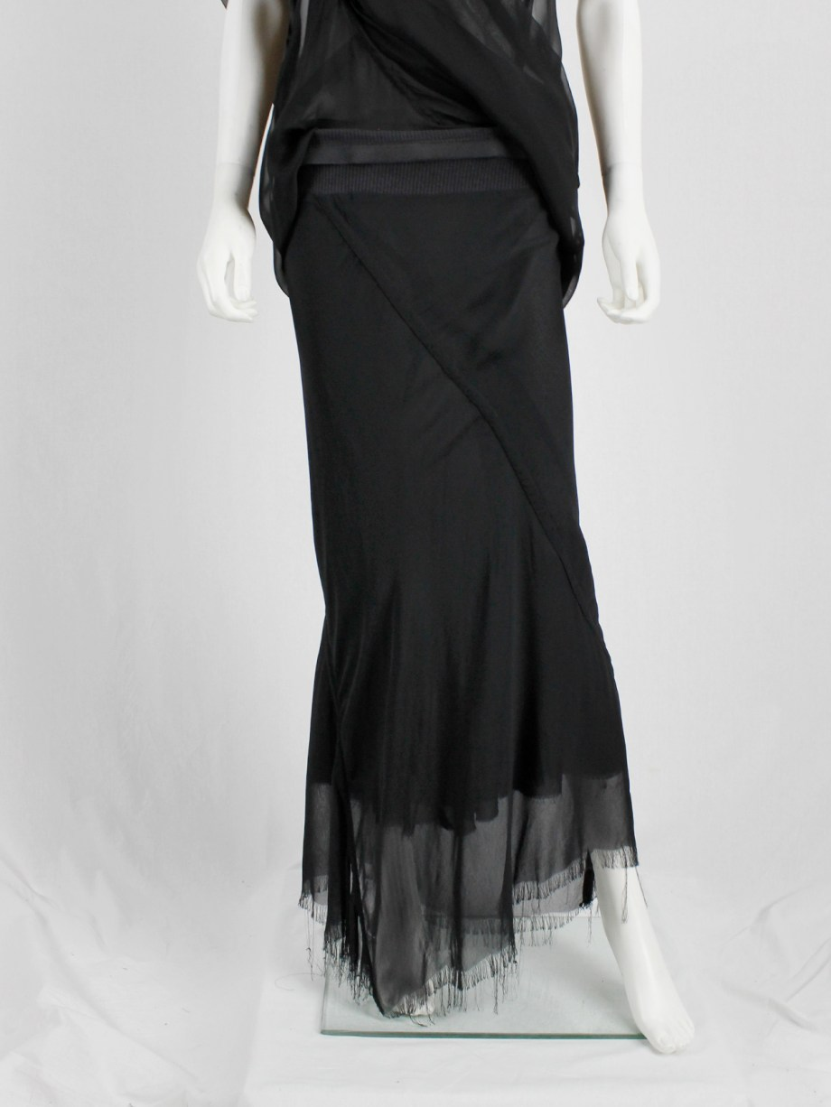 Rick Owens black double-layered mermaid skirt with frayed finish